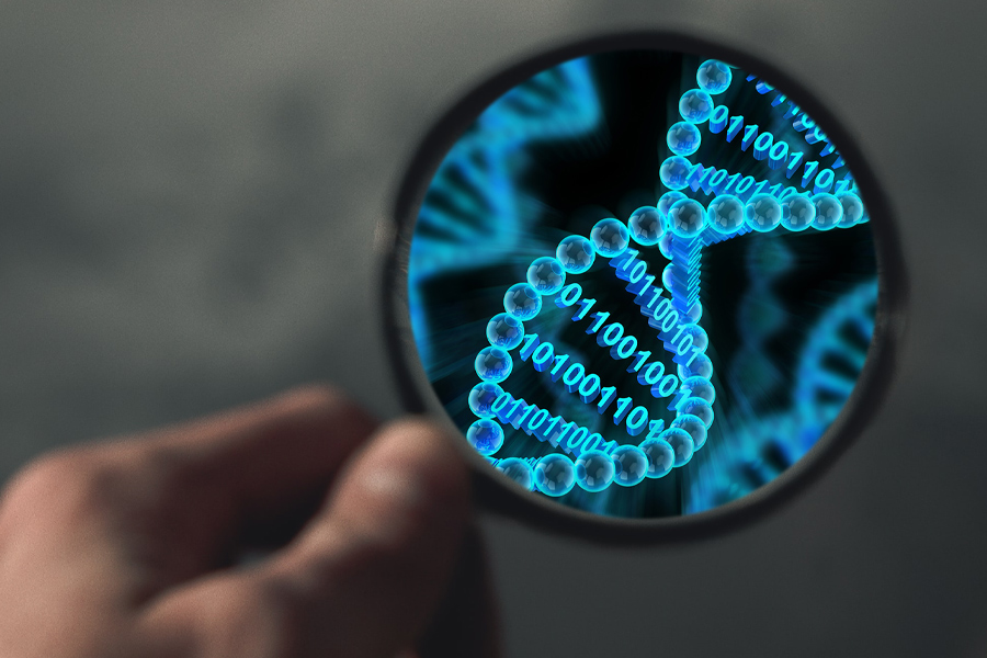 Thailand DNA test, a magnifying glass on DNA