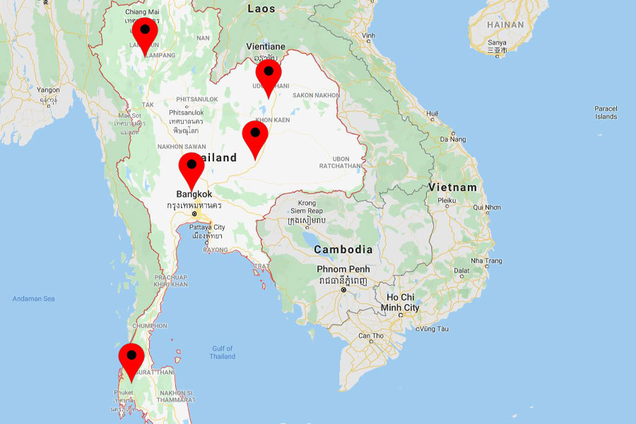 Thailand private investigator service area map.
